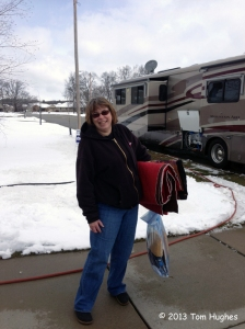 Moving into the RV in a snowy April