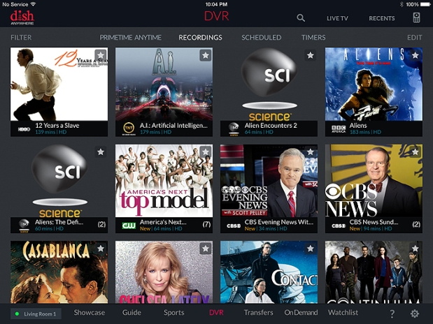 DISH Anywhere - DVR Screen