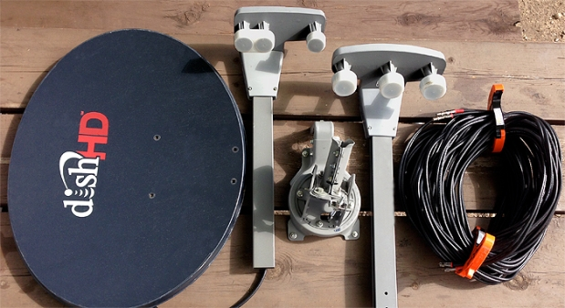 DISH 1000.4 with Eastern (left) and Western (right) LNBs shown