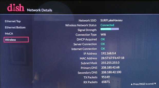Diagnostics > Network > Network Details > Wireless