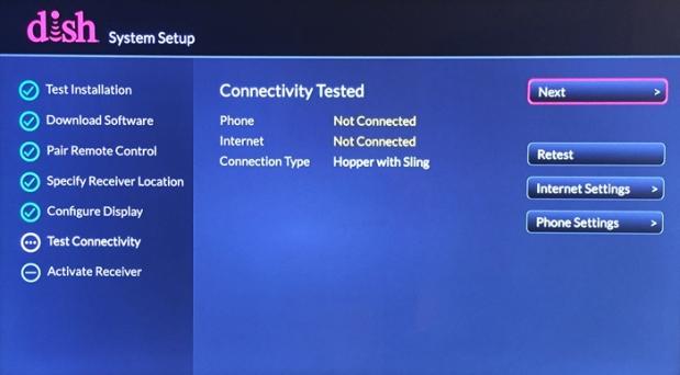 System Setup > Testing Connectivity