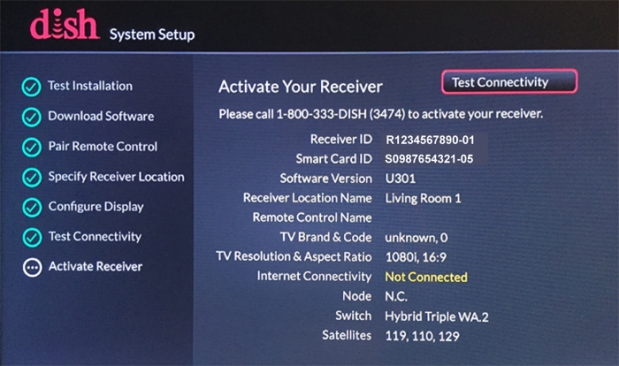 System Setup > Activate Receiver