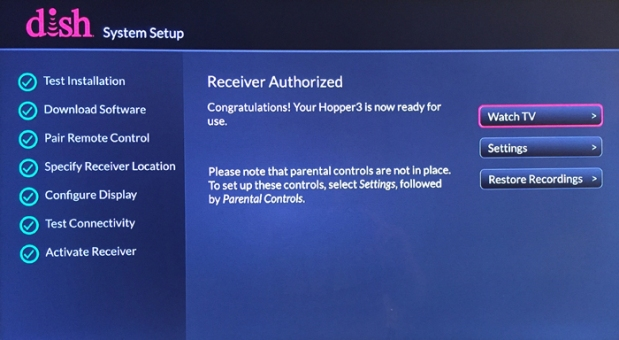 System Setup > Activate Receiver (done!)