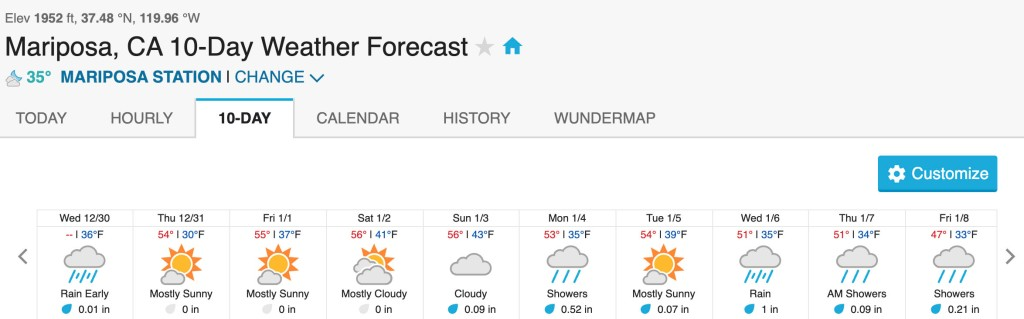 Mariposa 10-Day Forecast